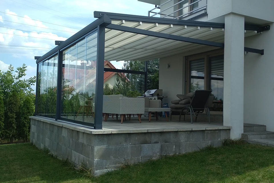 pergolas with glass window